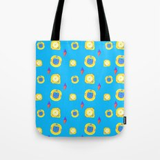 yellow substances in a blue matter Tote Bag