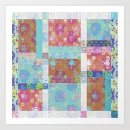 Lotus flower turquoise and apricot stitched patchwork - woodblock print style pattern Art Print