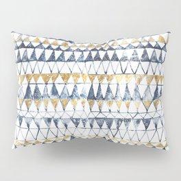 Watercolor Indigo Blue Gold Triangle Tribal Pattern Pillow Sham