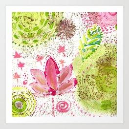 Floating Pink Lotus Art Print