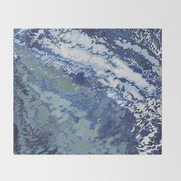 Deep Blue Ocean Wake Throw Blanket