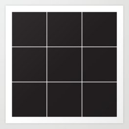 Blak White Grid Art Print