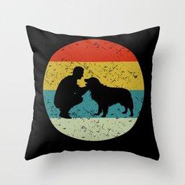 girl and dog Throw Pillow