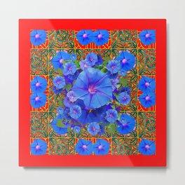 Red Modern Art  Blue Morning Glories Floral Art Metal Print