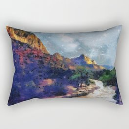 Milky Way rising over the Watchman in Zion National Park Rectangular Pillow