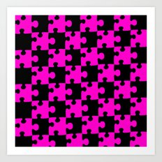 Checkerboard Puzzle Pieces     Pink & Black Art Print