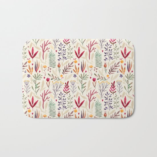 Light  Botanical Pattern Bath Mat