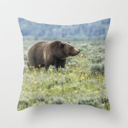 Smiling Grizzly #399 Throw Pillow