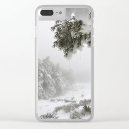 """""""Snowy forest"""". At the foggy mountains... Clear iPhone Case"""