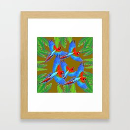 GREEN JUNGLE BLUE MACAW PARROTS Framed Art Print
