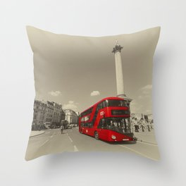 Trafalgar New Bus for London Throw Pillow