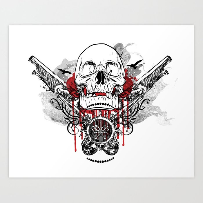 Pirate Skull and Pistols  Art Print