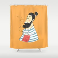 knitting Shower Curtains featuring knitting by Milla Scramignon