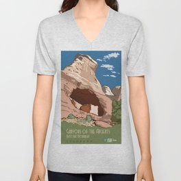 Vintage poster - Canyons of the Ancients Unisex V-Neck