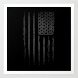 Grey American flag Art Print