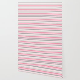 Gray and Pink Striped Pattern Wallpaper