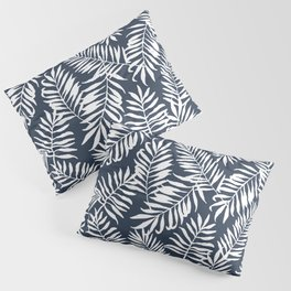 Tropical Palm Leaves - Navy Blue Pillow Sham