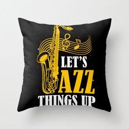 Music Blues Jazz Saxophone Trumpet Guitar Throw Pillow