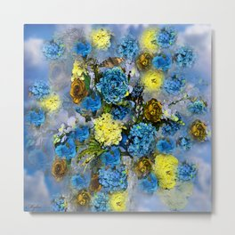 HYDRANGEA AND ROSES Metal Print