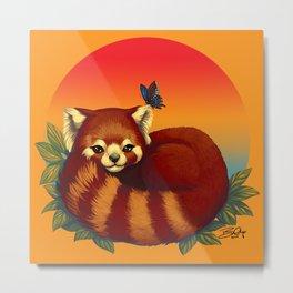 Red Panda Has Blue Butterfly Friend Metal Print