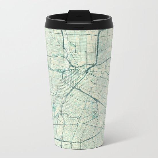 Houston Map Blue Vintage Metal Travel Mug