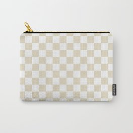 Small Checkered - White and Pearl Brown Carry-All Pouch