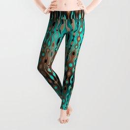Retro Bohemian Gypsy Beaded Dangles // Horizontal Gradient Chocolate Brown, Turquoise, Teal Leggings