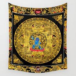 Buddhist Mahakala Mandala Golden Kalarupa Wall Tapestry