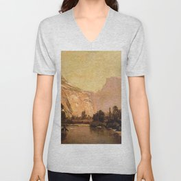Piute Indians Royal Arches And Domes Yosemite Valley 1879 By Thomas Hill | Reproduction Unisex V-Neck
