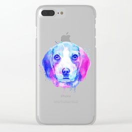 Beagle watercolor, Watercolor beagle, Watercolor dog, Beagle portrait Clear iPhone Case