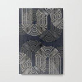 Mid Century Modern Arches Black White Metal Print