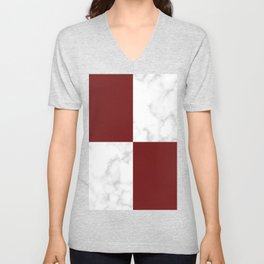 marble and red tiles Unisex V-Neck
