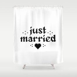 just married couple wedding gift pixel heart Shower Curtain