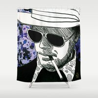 hunter s thompson Shower Curtains featuring Hunter S. Thompson, Bat Country by Abominable Ink by Fazooli