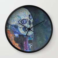 gustav klimt Wall Clocks featuring Death and Life by Gustav Klimt by cvrcak