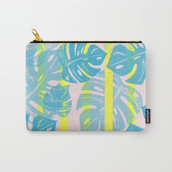 Linocut Monstera Neon Carry-All Pouch