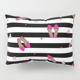 Pumps on stripped black Pillow Sham