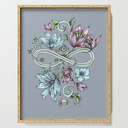 Infinity Floral Moon Garden in Gray Serving Tray
