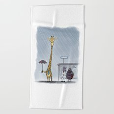 Even successful business giraffes have bad days Beach Towel