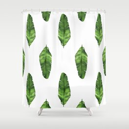 Banana leaf. Watercolor Illustration. Shower Curtain