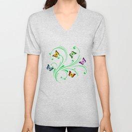 Colorful butterflies Unisex V-Neck
