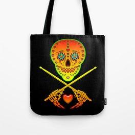 Neon Sugar Skull Drummer. Tote Bag