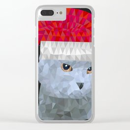 Gray british cat with christmas hat Clear iPhone Case