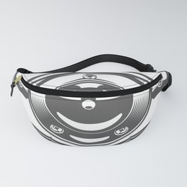 Motorcycle engine cover with a smile in design fashion modern monochrome style illustration Fanny Pack