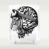 bioworkz Shower Curtains featuring Tiger Helm by BIOWORKZ