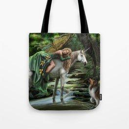 Sleeping Fairy on Unicorn Tote Bag