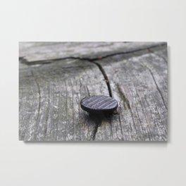 Nail and old wood Metal Print