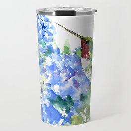 Hydrangea Flowers and Ruby Throat Hummingbird Travel Mug