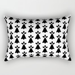 Black and White Ermine Spots French Country Print Rectangular Pillow