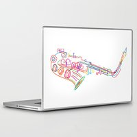 saxophone Laptop & iPad Skins featuring Stylized  saxophone by Rceeh